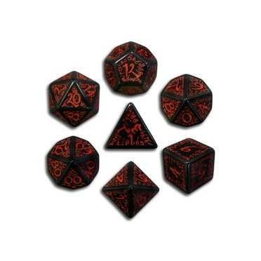 Set de Dés Elfiques Noirs et Rouges