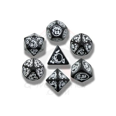 Dice Set of Black & white Dragons