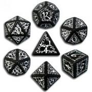 Set de Dés Elfiques Noirs et Blanc