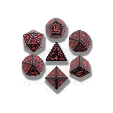 Set de Dés Runique Noir et Rouge
