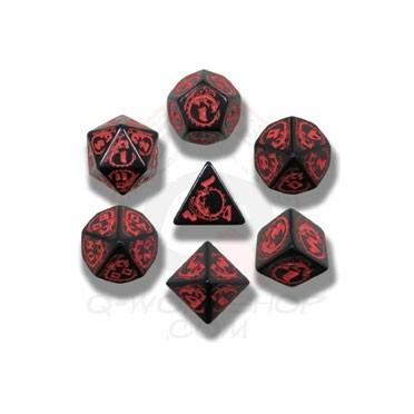 Set de Dés Dragon Noir et Rouge