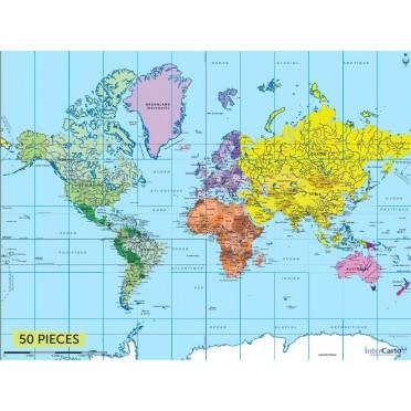 Carte du Monde 50 pièces