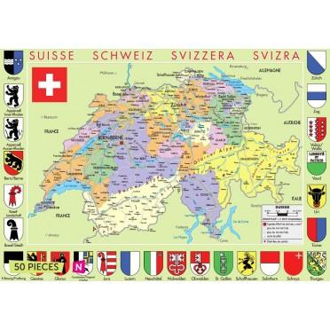 Carte de suisse 50 pièces .