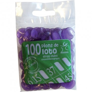 100 Pions 15 mm marquage Loto Violet