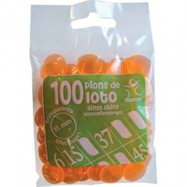 100 Pions 18 mm marquage Loto Orange