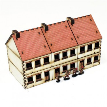 Bloc de 3 bâtiments 20ème siècle 15mm