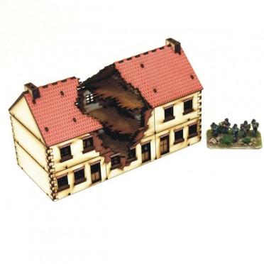 Bloc de 3 bâtiments détruits 20ème siècle 15mm