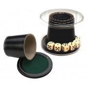 Gobelet cuir noir - 6 dés - socle 9 cm