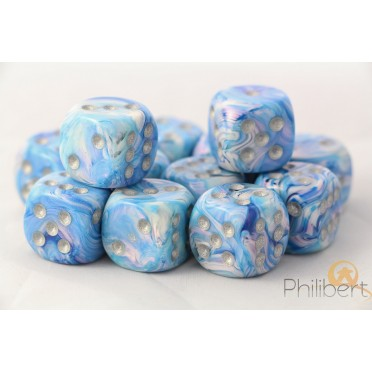Set de 12 dés 6 faces Mother of Pearl - Bleu / Argent