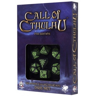 Set de 7 Dés Call of Cthulhu 7th Edition Noir / Vert