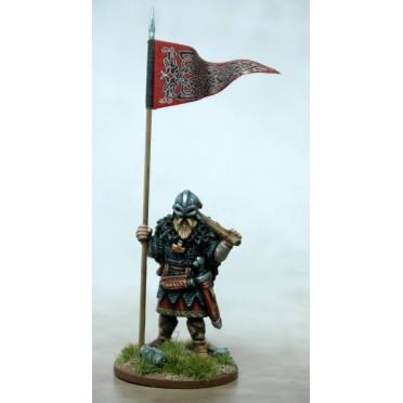 Bannière de guerre viking et porteur
