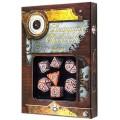 Set de 7 Dés JDR - Steampunk Clockwork - Caramel/Blanc 1