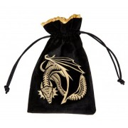 Bourse Velour - Dragon : Noir et Or