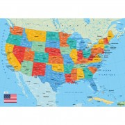 Puzzle - Carte des USA - 50 Pièces