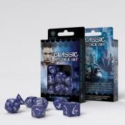 Set de dés Elfe Classic - Cobalt et Blanc
