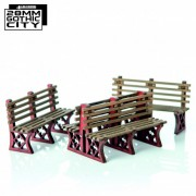 Red Iron Frame Benches