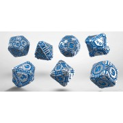 Metal & blue Tech Dice Set