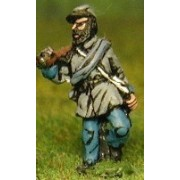 Union or Confederate: Infantry in Kepi & Frock Coat with blanket roll, advancing