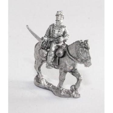 Union or Confederate: Command: Officer, Standard Bearer & Bugler in Kepi on walking horses