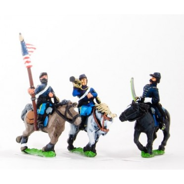 BG58H Union or Confederate: Command: Officer, Standard Bearer & Bugler in Kepi on charging horses