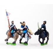 BG58H Union or Confederate: Command: Officer, Standard Bearer & Bugler in Kepi on charging horses