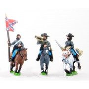 Union or Confederate: Command: Officer, Standard Bearer & Bugler in Slouch Hat on charging horses