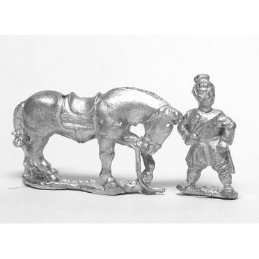 Chin Chinese: Early Chinese horse holders, two men with four horses