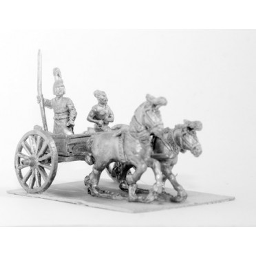 Shang or Chou Chinese: Two horse Light Chariot with driver and spearman