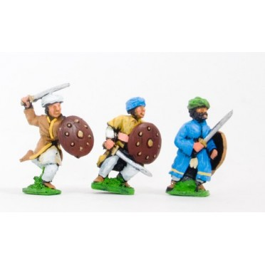 Arab swordsmen with round shield, assorted poses