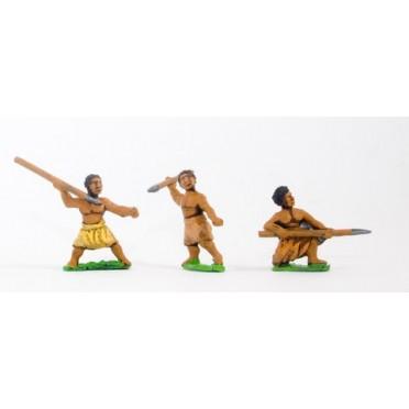 Unarmoured black spearmen / javelinmen, assorted poses