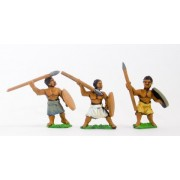 Unarmoured black spearmen / javelinmen with round shield, assorted poses