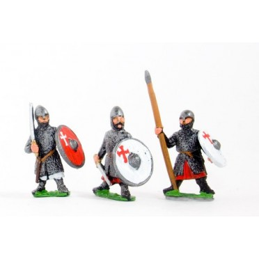Frankish Knights on foot, Round Shields, assorted