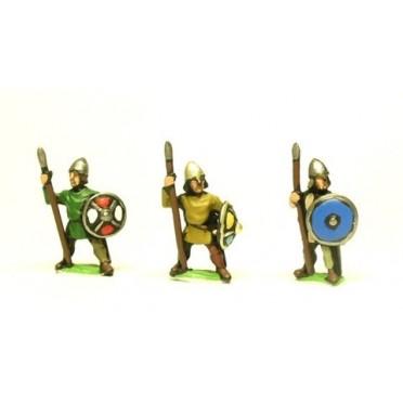 Dark Age: Medium Spearmen with helmets & round shield