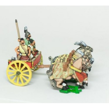 Shang or Chou Chinese: Four horse Heavy Chariot with driver, archer and spearmen