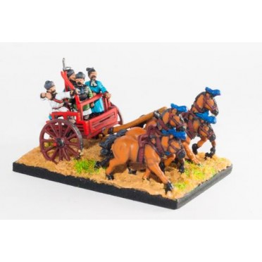 Han Chinese: General in 4 horse chariot with driver, archer and halberdier