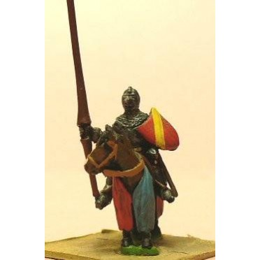 Late Medieval: Knights, 1360-1390AD in Bascinets & Jupon with Lance & Shield, on Barded Horse