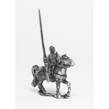 Late Medieval: Knights, 1360-1390AD in Bascinets & Jupon with Lance & Shield, on Unarmoured Horse