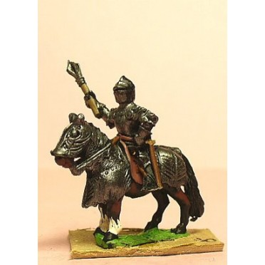 Late Medieval: Knights, 1400-1430AD, in Full Plate & Great Helm with Mace or Axe and Sword on Armoured Horse