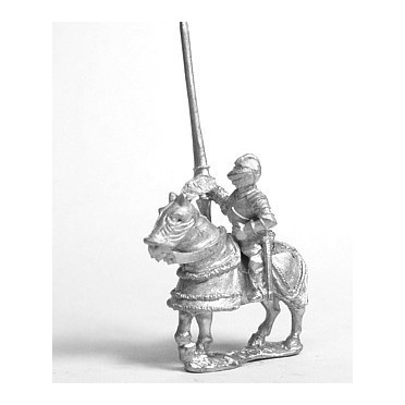 Late Medieval: Gendarme in Closed Helm with no plume on Armoured Horse