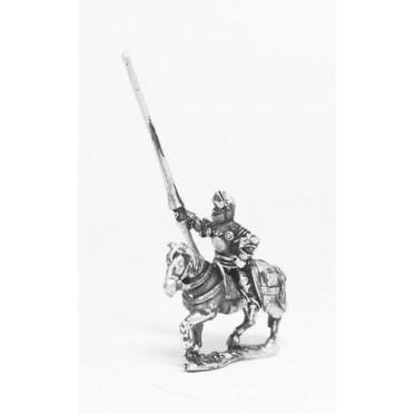 Late Medieval: Knights, 1400-1430AD, in Full Plate & Great Helm with Lance on Unarmoured Horse