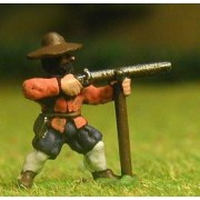 Late Medieval: Musketeer with rest in Hat, firing