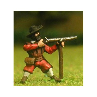 Renaissance 1520-1580AD: Musketeer with rest in assorted hats, firing