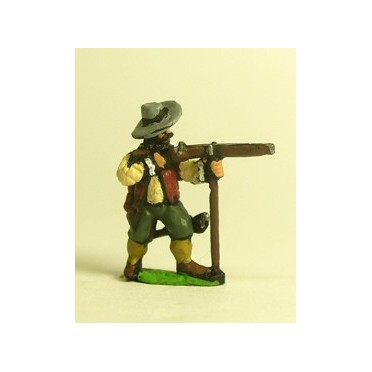 Spanish & English 1559-1605AD: Musketeer in Hat, firing