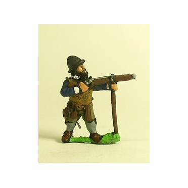 Spanish & English 1559-1605AD: Musketeer in Cabasset & padded jacket, firing