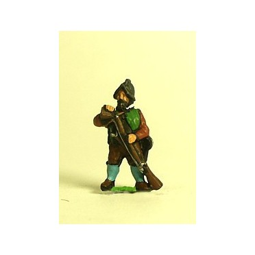 Spanish & English 1559-1605AD: Musketeer in Morion, loading