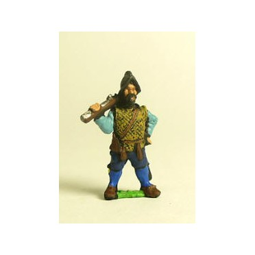 Spanish & English 1559-1605AD: Musketeer in Morion with shouldered Arquebus