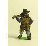 Spanish & English 1559-1605AD: Musketeer in Hat with shouldered Arquebus