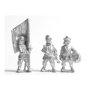 English 1559-1605AD: Command: Foot Officer, Standard Bearer & Drummer
