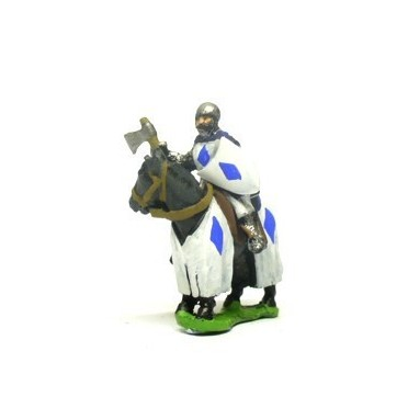 Mounted Knights, 1200-1350AD with Heater Shield & Mace or Axe in Helmets & hooded cloaks, on Barded Horse