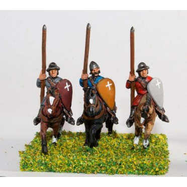 Mounted Sergeants in Conical Helms and Cloth Tunic, with Kite Shield & Lance on Unarmoured Horse